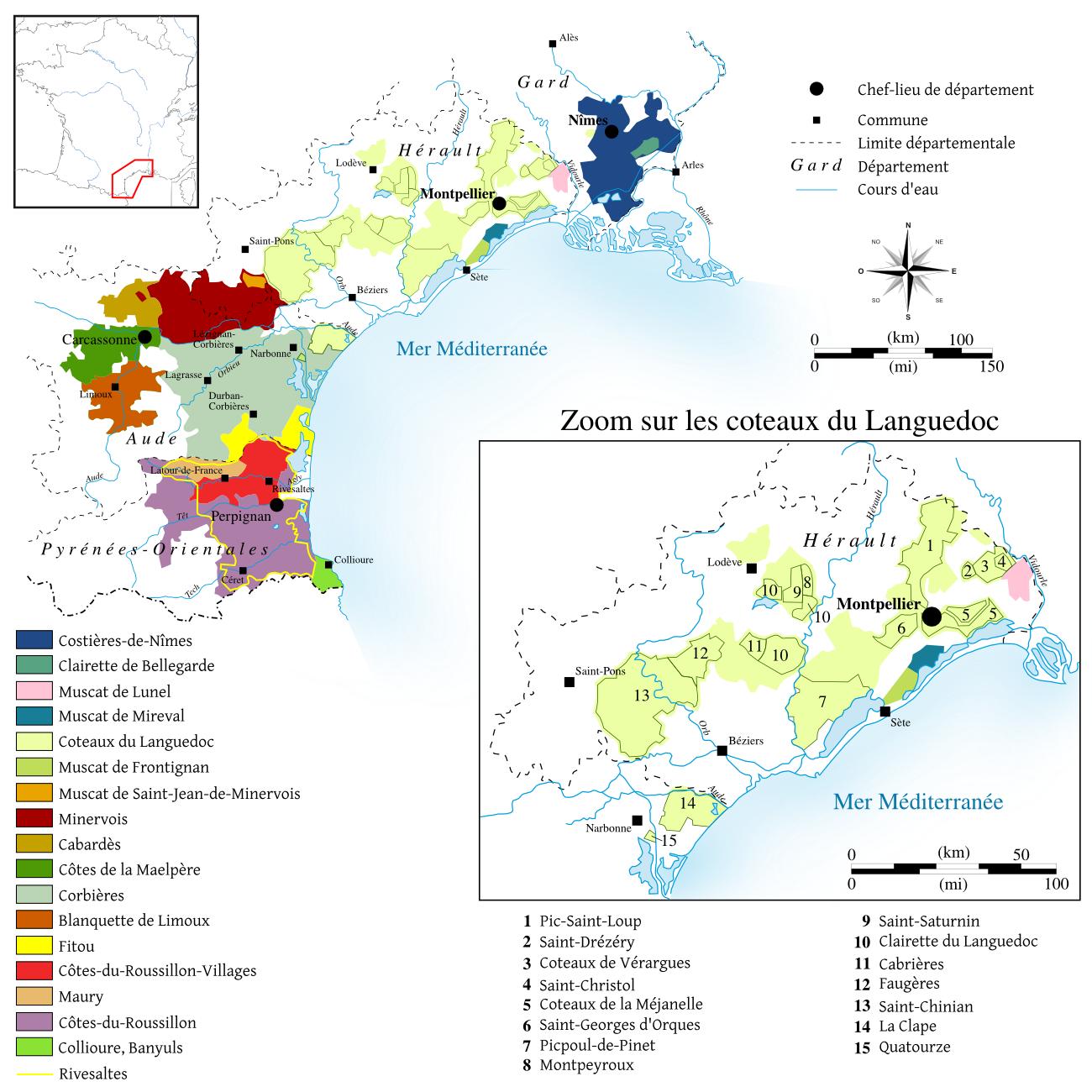 Carte vignobles du Languedoc