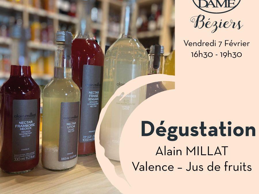 Dégustation Jus de fruits, Alain Milliat