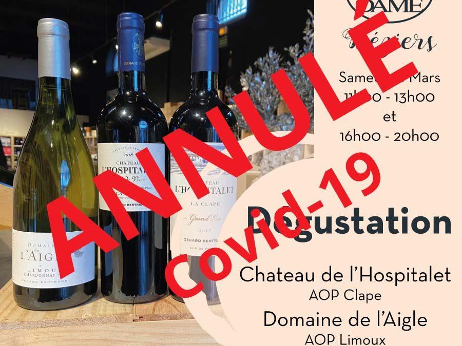 Chateau l'Hospitalet &  Domaine de l'Aigle Timelines: Dégustation de Vin Mars 2020